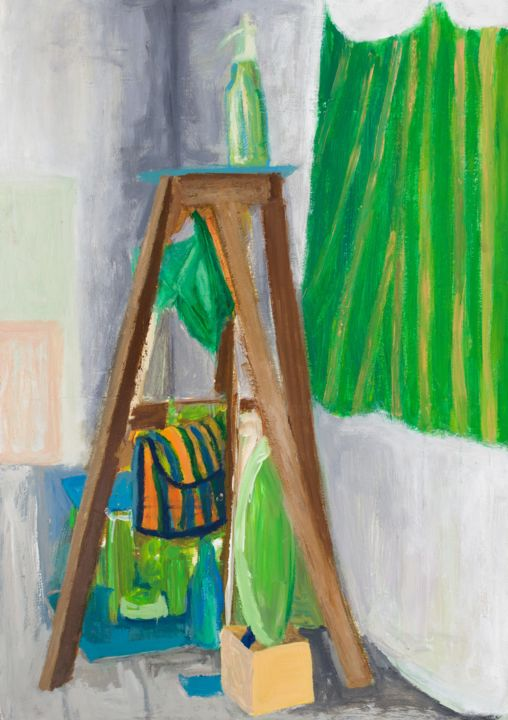 Still Life with Green Siphon Bottle : 100 x 70 cm - © 2013 still life, impressionism, pamela rys, contemporary painting Online Artworks