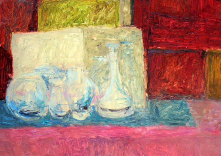 """Pink Still Life : 19"""" x 26"""" - 48 x 66 cm - Painting,  48x66x0.3 cm ©2006 by Pamela Rys -                                                                                    Contemporary painting, Expressionism, Impressionism, Other, Still life, pamela rys, still life, impressionism, contemporary"""
