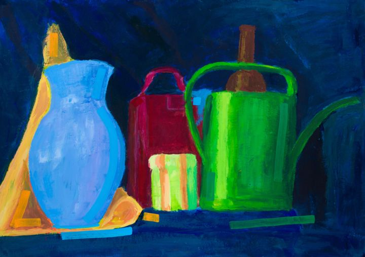"Still Life with Candle : 20"" x 28"" - 50 x 70 cm - © 2012 still life, candle, pamela rys, blue Online Artworks"