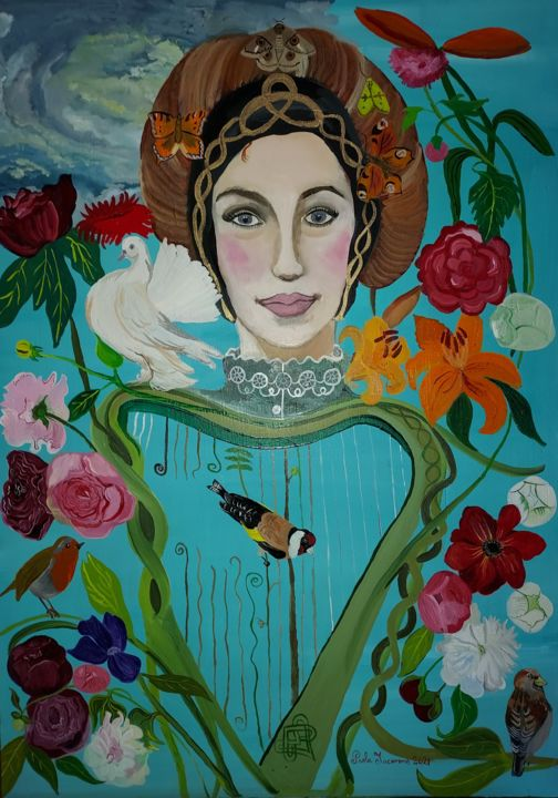 """Painting titled """"Lady Eireann"""" by Paola Iacovone, Original Art, Oil"""