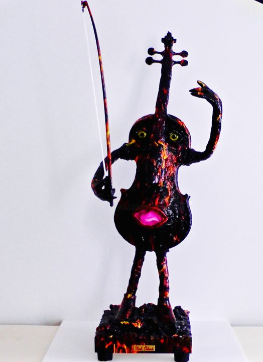 "Paganini Collection Violini D'autore Cod 003 "" Firenight"" - Sculpture,  91x41x25 cm ©2015 by Paolo Orlando -                                                            Art Nouveau, Wood, Music, Violin, Sculpture, Sculture violino, sculture musica, pittura, arte moderna, arte creativa, arte deco, sculture in bronzo, sculture in resina, sculture, violini, decorazione violini, arte astratta"