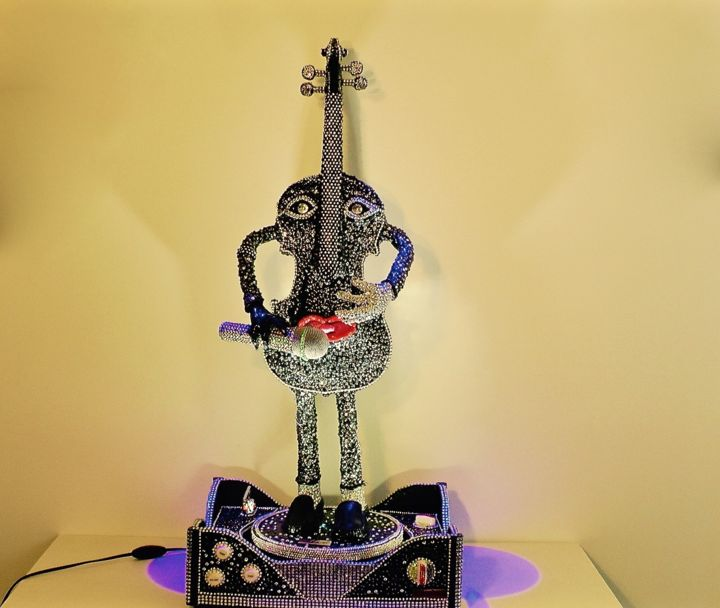 "Paganini Collection Violini D'autore Cod 009 "" Michael Jackson "" Swarovski - Sculpture,  90x41x34 cm ©2016 by Paolo Orlando -                                                                                                                                                Art Deco, Art Nouveau, Figurative Art, Pop Art, Other, Wood, Performing Arts, Fantasy, Music, People, arte deco, Michael Jackson, Personaggi, Violini, Sculture, Violini sculture, dipinti, astratti, resina, bronzo, sculture personaggi, personaggi dello spettacolo"