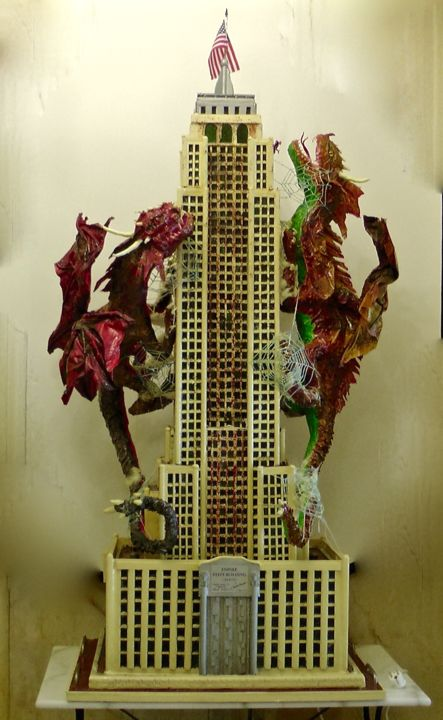 Scultura In Resina  Luminosa ,Fosforescente Empire State Building  con Spiderman e Dragoni - Sculpture,  260x85x80 cm ©2015 by Paolo Orlando -                                                                                                                                                                                                                                                                                                                        Art Nouveau, Abstract Art, Figurative Art, Modernism, Paper arts, Pop Art, Street Art (Urban Art), Other, Wood, Animals, Architecture, Performing Arts, Cartoon, Celebrity, Cinema, Cities, Cityscape, Colors, Science-fiction, Comics, Geometric, Interiors, Light, History, Empire State Building, dipinti, New York, Sculture Moderne, Spiderman, Dragoni, Cartapesta, Resina, Sculture in Resina, Sculture grandi dimensioni, Sculture Luminose, Sculture mitologiche, arte moderna, pop art, fumetto, street art, mitologia