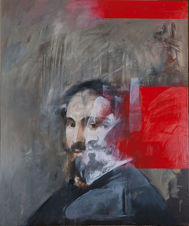 """Painting titled """"Interferenze (Fig.…"""" by Paolo Damiani, Original Art, Oil Mounted on Stretcher frame"""