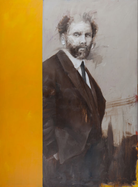 """Painting titled """"Mr. Klimt"""" by Paolo Damiani, Original Art, Oil Mounted on Wood Panel"""