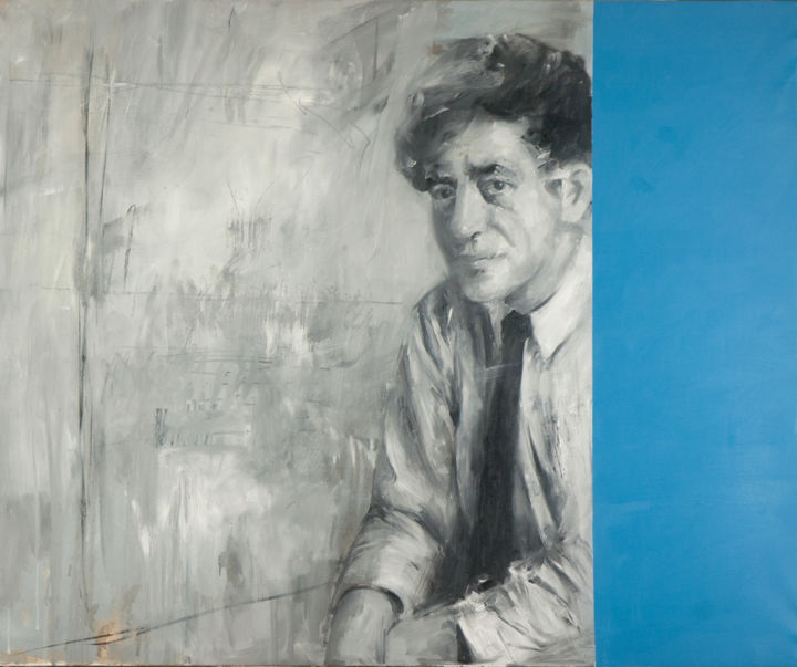 """Painting titled """"Mr. Giacometti"""" by Paolo Damiani, Original Art, Oil Mounted on Wood Panel"""