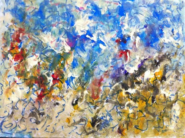 Les éléments - Painting,  11.8x15.8 in, ©2012 by Virginie Bazin -                                                                                                                          Expressionism, expressionism-591