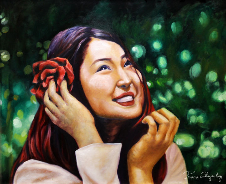 """Painting titled """"Happiness-1"""" by Parama Shayantony, Original Art, Oil"""