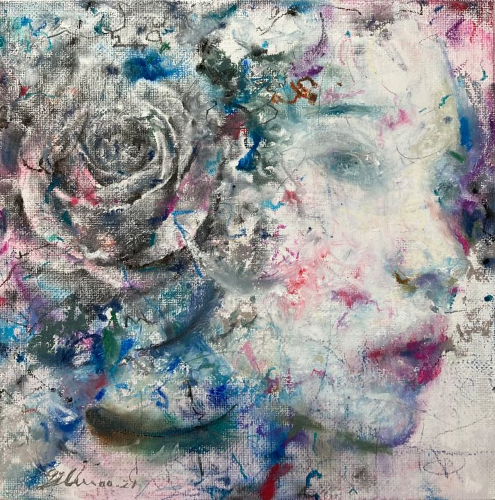 """Painting titled """"Nightingale - Feath…"""" by Jiyou Piao, Original Art, Acrylic"""