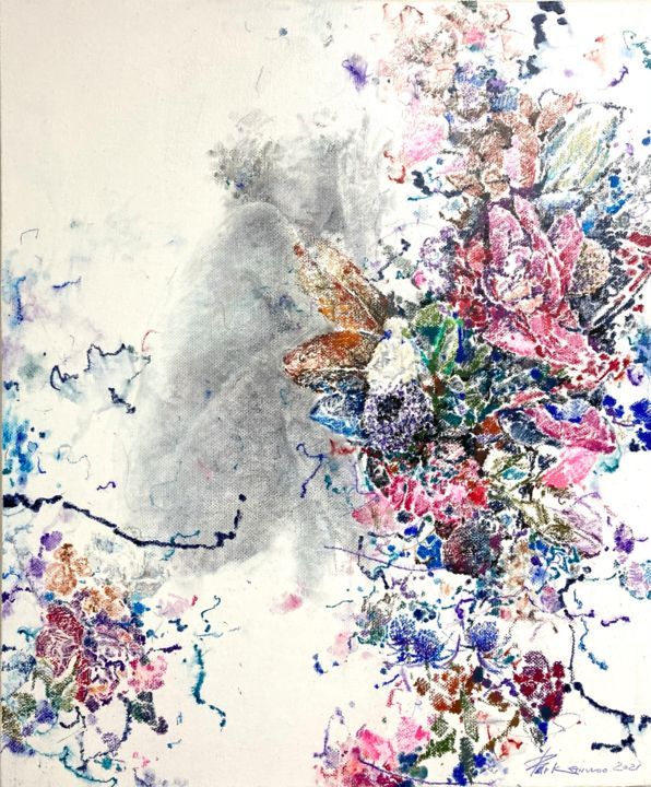 """Painting titled """"Rose-71"""" by Jiyou Piao, Original Art, Acrylic"""
