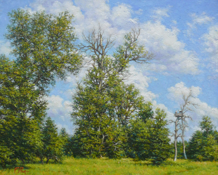 Stork's land - Painting,  23.6x29.5x1.2 in, ©2017 by parpeter66 -                                                                                                                                                                                                                                                                                                                                                                                                          Figurative, figurative-594, Landscape, oaks, Sky, clouds, meadow, storks