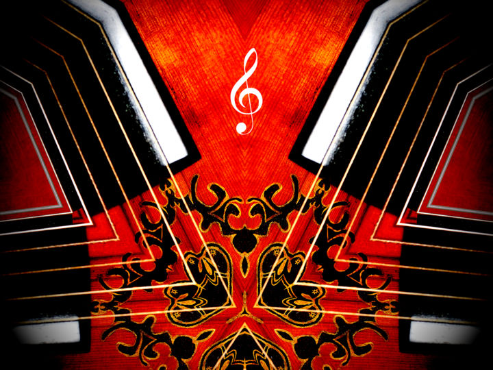 La clef - Photography,  29.5x39.4x0.8 in, ©2017 by Pascal Caperon -                                                                                                                                                                                                                                                                                                                                                                                                                                                      Abstract, abstract-570, Music, Clé, Clef, Sol, Musique, Music, Corde