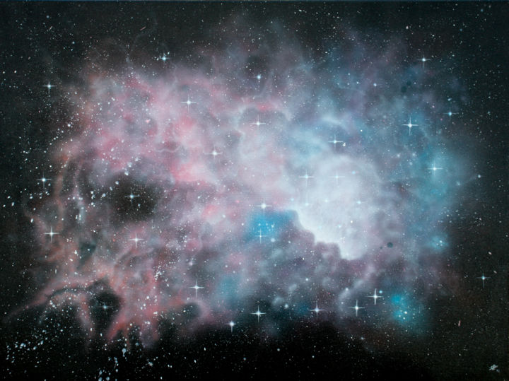 Nebulous - Peinture,  23,6x31,9x0,8 in, ©2016 par Pascal Genevois -                                                                                                                                                                                                                                                                                                                                                                                                                                                                                                                                                                                                                                                                                                                                                                                                                      Figurative, figurative-594, Cosmos, Fantastique, Paysage, artwork_cat.Science-fiction, Nebulous, pascal genevois, nebuleuse, espace, univers, cosmos, etoile, nuage, science-fiction, fantastique, imaginaire