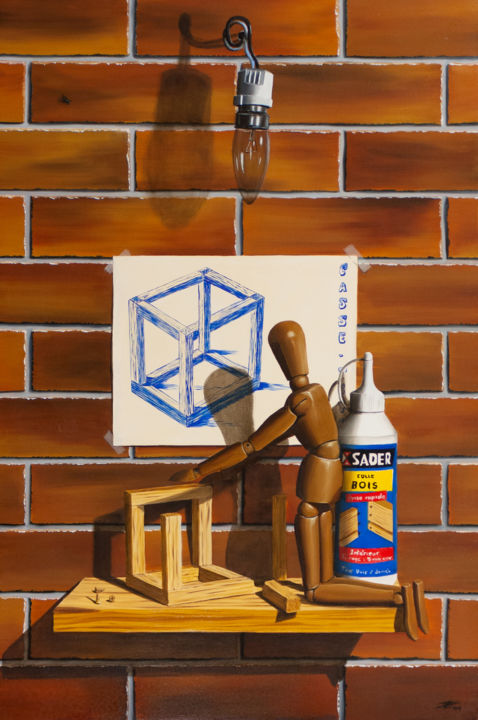 Impossible cube - Peinture,  23,6x15,8x1,2 in, ©2014 par Pascal Genevois -                                                                                                                                                                                                                                                                      Figurative, figurative-594, Nature morte, Impossible cube, pascal genevois
