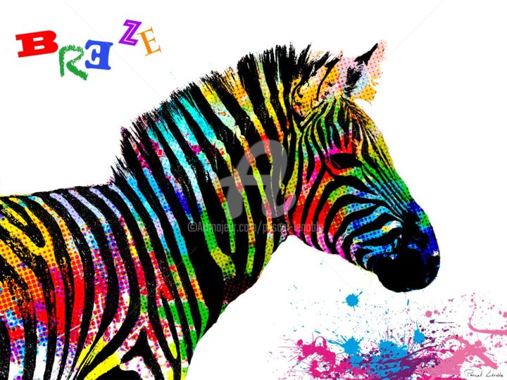 Zebre pascal lenoble - Tableau contemporain colore ...