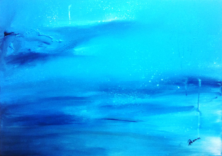 Bleu comme tes yeux ! - Painting,  50x70 cm ©2018 by Pascal Thomas -                        Abstract Art