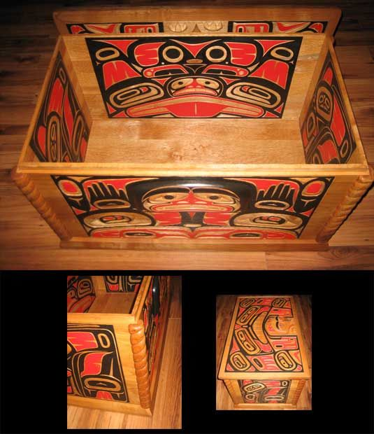 the awakening chest - Painting, ©2006 by Pascal A Pelletier -                                                              carved and paint inside out. with relief masks.