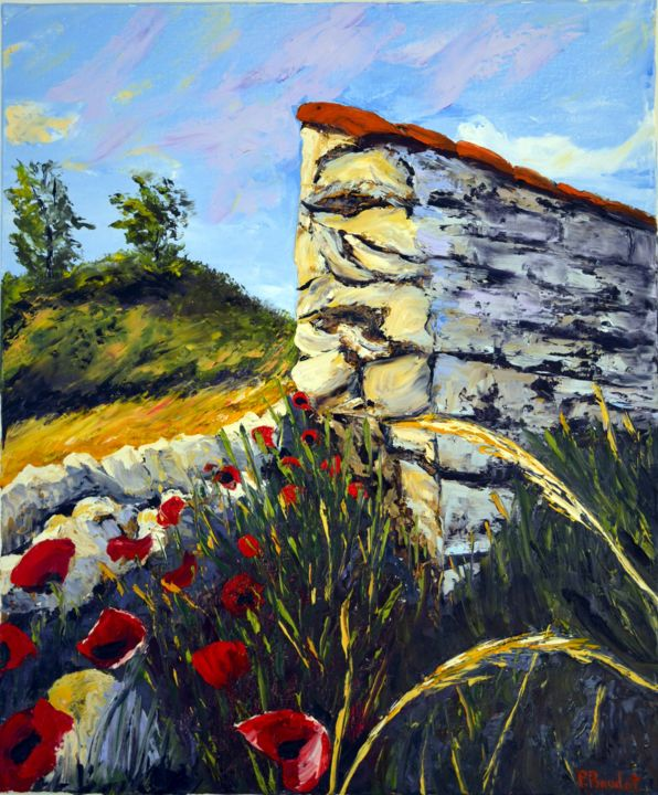 Un coin de campagne - Painting,  25.6x21.3 in, ©2015 by Pascal Baudot -                                                                                                                                                                                                                                                                                                                  Figurative, figurative-594, Landscape, coquelicot, campagne, mur