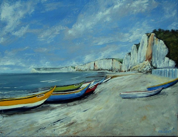 La plage d'Yport - Painting,  19.7x25.6 in, ©2009 by Pascal Baudot -                                                                                                                                                                          Figurative, figurative-594, Plage normande  barques Yport