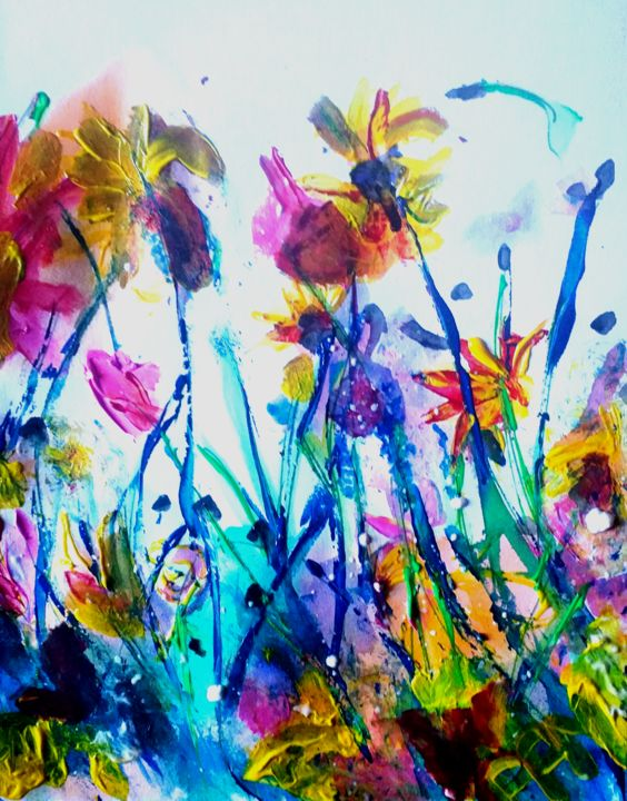 Color Painting, ink, pop art, artwork by Pascale Perrillat