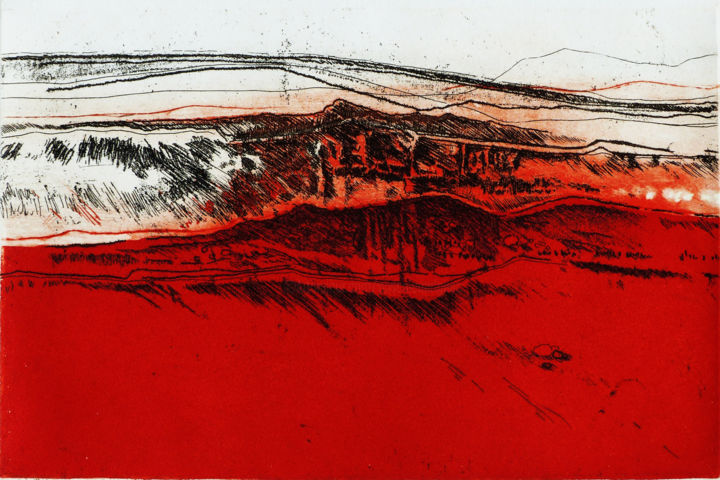 Ici rouge. - Printmaking,  7.9x11.8 in, ©2018 by Pascale Aurignac -                                                                                                                                                                                                                                                                                                                                                                                                                                                      Abstract, abstract-570, Landscape, estampes, gravure, rouge, aquatinte, eau forte, paysage