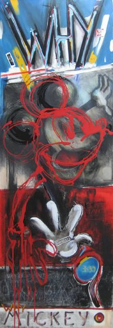 WHY MICKEY - Painting,  150x50 cm ©2010 by Pascale Aurignac -                                        Contemporary painting, Cartoon