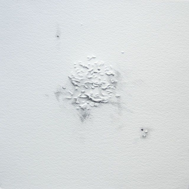 jour 1 - 28.10.2011 - Drawing,  7.9x7.9 in, ©2011 by Pascale Aurignac -                                                                                                                                                                                                                          Abstract, abstract-570, Abstract Art, jour 1 - 28.10.2011- mine de plomb et gaufrage sur papier. 20x20cm.