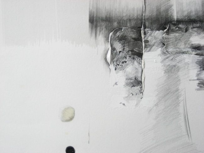 11+19  - 15.04.2012 détail - Drawing,  0.4 in, ©2012 by Pascale Aurignac -                                                                                                                                                                                                                                                  Black and White, acrylique, encre, mine de plomb, gaufrage sur papier