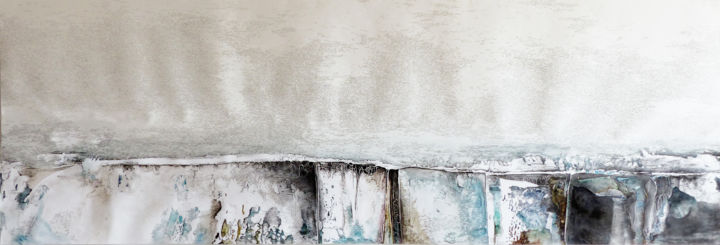 plan 3 - Painting,  58x177 cm ©2016 by Pascale Aurignac -                                        Contemporary painting, Paper
