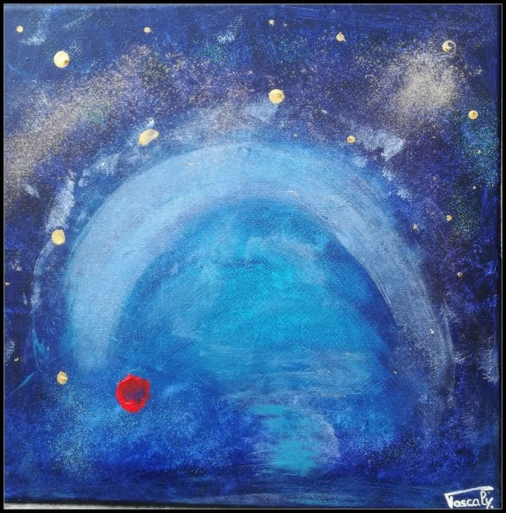 L'univers de Grégou - Painting,  40x40 cm ©2018 by PASCALY -                                                            Abstract Art, Canvas, Abstract Art, Peinture médiumnique, bleu, tableau d'âme, âme, voûte celeste