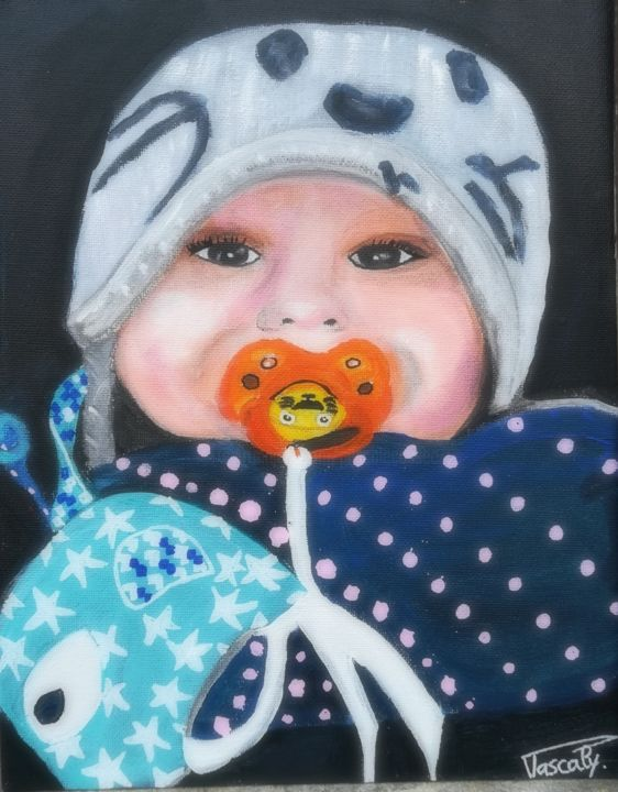 Jali 1 an - Painting,  24x18 cm ©2018 by PASCALY -                                                                        Figurative Art, Canvas, Kids, Portraits, Enfant, portrait