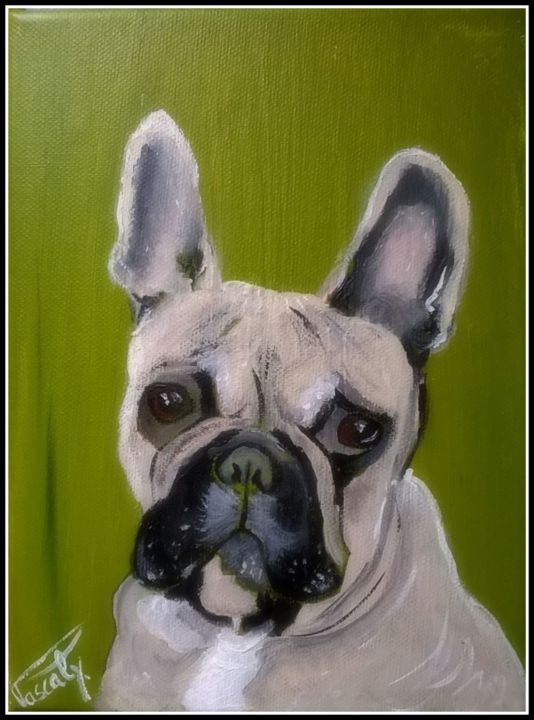 karamelou. - Painting,  9.5x7.1 in, ©2017 by PASCALY -                                                                                                                                                                                                                                                                                                                                                                                                                                                      Figurative, figurative-594, Animals, Dogs, Portraits, Chien, portrait, animaux, bouledogue