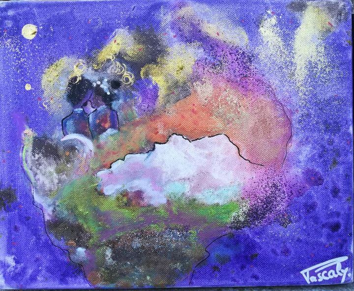 Les amoureux du continent. - Painting,  9.5x11.8x1.6 in, ©2019 by PASCALY -                                                                                                                                                                                                                                                                                                                                                                                                                                                                                                                                                                                                                                      Abstract, abstract-570, Love / Romance, Outer Space, People, Spirituality, Travel, Amoureux, couple, terre, afrique, love, amour