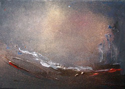 Dialogues de nuit !... - Painting,  9.5x13 in, ©2009 by Pascaly -                                                                                                                          Abstract, abstract-570