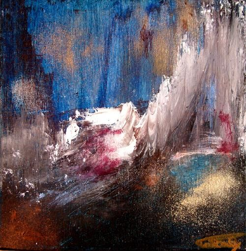 La chambre Bleue. - Peinture,  7,9x7,9 in, ©2009 par PASCALY -                                                                                                                          Abstract, abstract-570