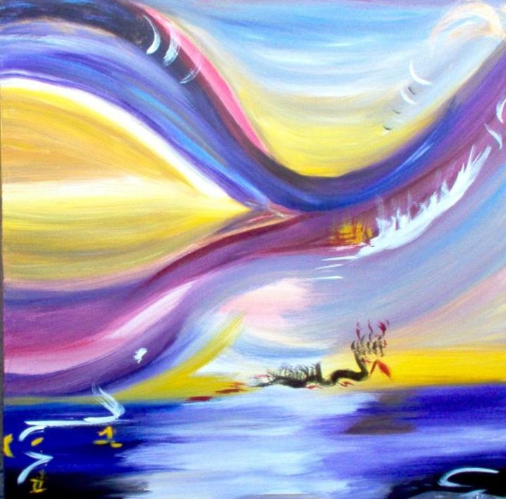 Le lac céleste - Painting,  39.4x39.4 in, ©2006 by Pascaly -