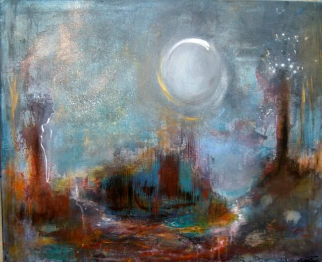 Lumière de Lune. - Painting,  23.6x28.7 in, ©2011 by Pascaly -