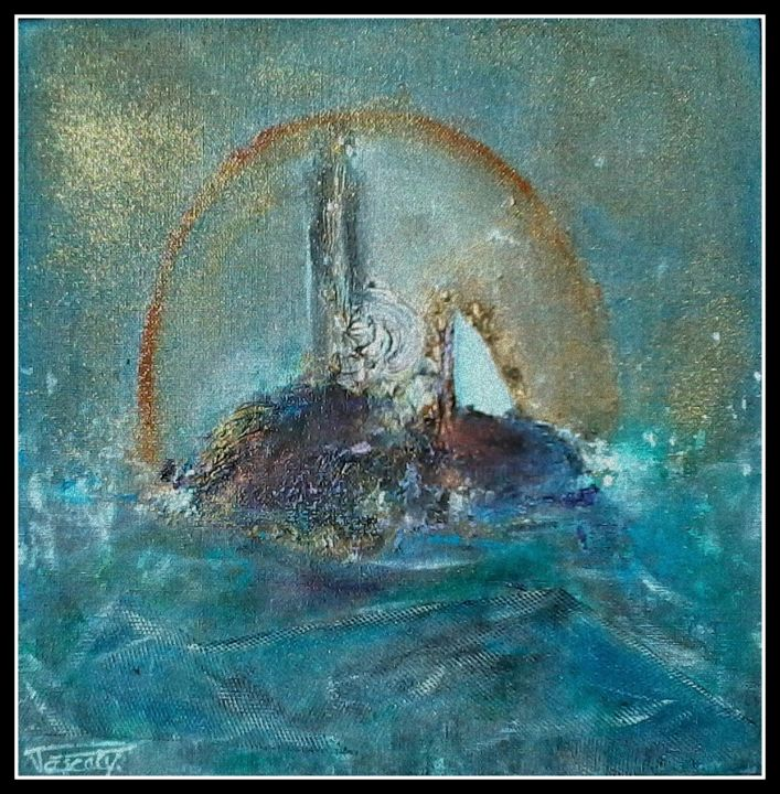 Emmène-moi près du phare !.. - Painting,  11.8x1.2x11.8 in, ©2015 by Pascaly -                                                                                                                                                                                                                                                                                                                                                                                                          Abstract, abstract-570, Boat, Seascape, Mer, île, phare, filets