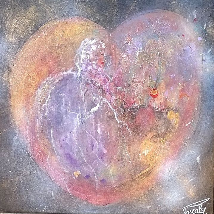Au coeur des sentiments. - Painting ©2015 by PASCALY -                                                                                    Abstract Art, Abstract Expressionism, Canvas, Love / Romance, Abstract Art, Mariage, Amour, Calèche, Coeur, Mariée