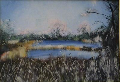 Lac gelé - Painting,  7.5x10.6 in, ©2005 by Pascal Imbert -