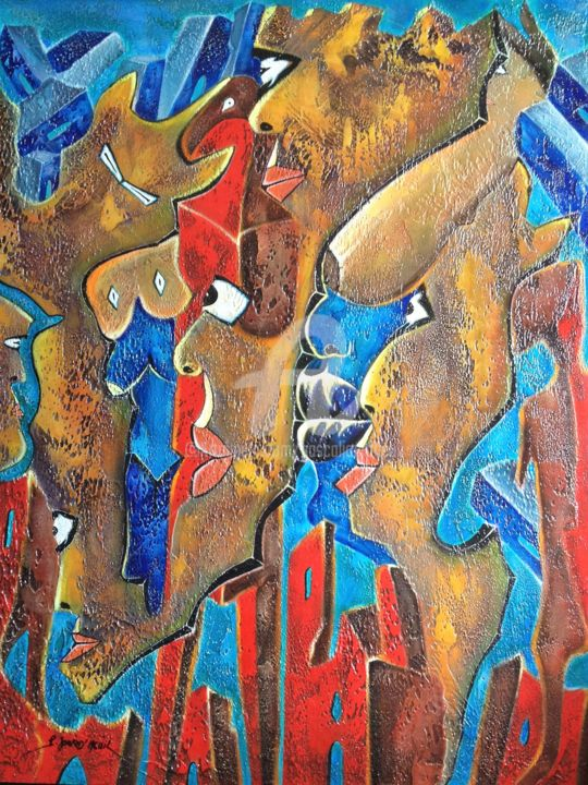 L'intrus - Painting,  81x65 cm ©2001 by Pascal Jourd'heuil -                                                                                            Abstract Art, Figurative Art, Colors, Culture, Women, Spirituality, peinture acrylique, art contemporain, figuratif, art primaire