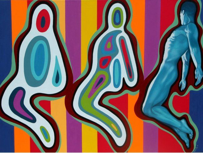 Echoman - Painting,  55.1x78.7 in, ©2008 by Pascal Roy -