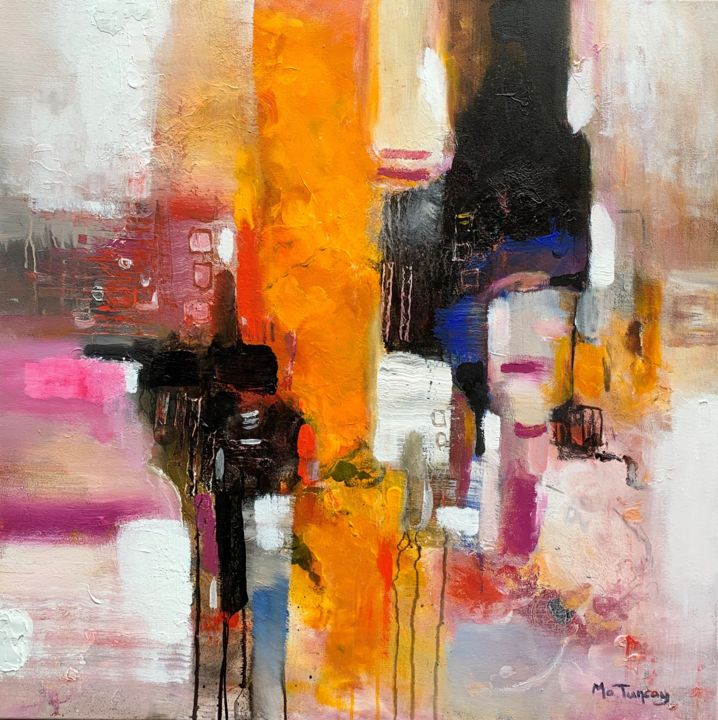 """"""" Balanced Life """" - Painting,  31.5x31.5x0.8 in, ©2019 by Mo Tuncay (Paschamo) -                                                                                                                                                                                                                                                                                                                                                                                                                                                                                                                                                                                          Abstract, abstract-570, Interiors, semi abstract, semi abstract painting, balanced life, acrylic painting, modern artist, abstract painters, abstract artist, dutch artist, schilderij"""