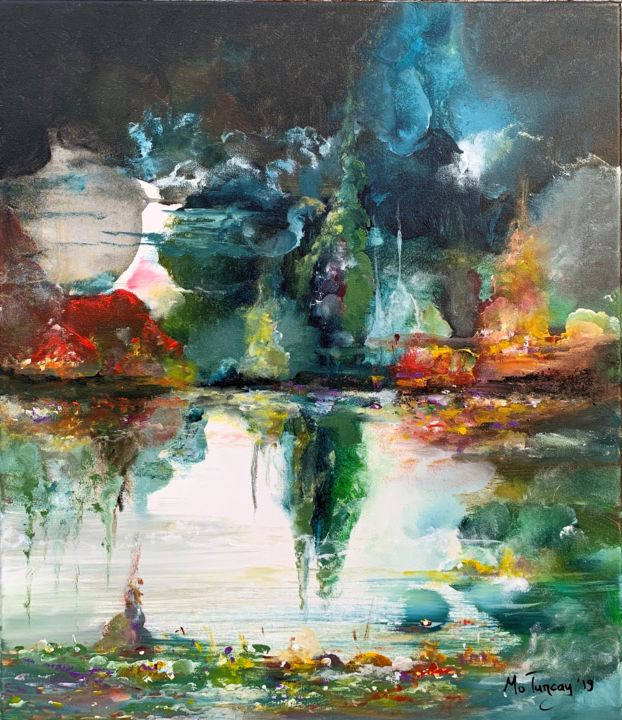 """""""Dreams are unlimited 15""""  / 60x70cm ( 24x28"""" ) - Painting,  27.6x23.6x0.8 in, ©2019 by Mo Tuncay (Paschamo) -                                                                                                                                                                                                                                                                                                                                                                                                                                                                                                                                                                                          Abstract, abstract-570, Abstract Art, Landscape, abstract painting, modern abstract, monet inspired, acrylics, dutch artist, artwork, schilderij, landscape painting"""