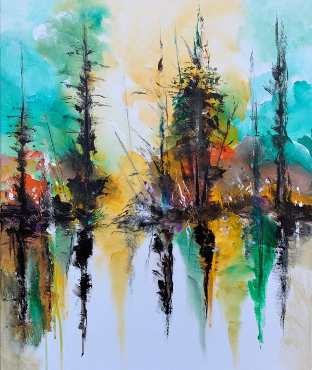 """Reflections II"" - Painting,  23.6x19.7x0.8 in, ©2020 by Mo Tuncay (Paschamo) -                                                                                                                                                                                                                                                                                                                                                                                                                                                                                                  Abstract, abstract-570, Abstract Art, landscape painting, abstract landscape, abstract art, art for sale, artist, artwork, original art"