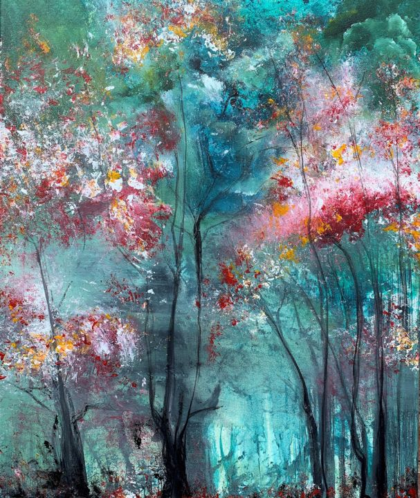 """"""" Take a walk with me """" - Painting,  23.6x19.7x0.8 in, ©2020 by Mo Tuncay (Paschamo) -                                                                                                                                                                          Abstract, abstract-570, Nature"""