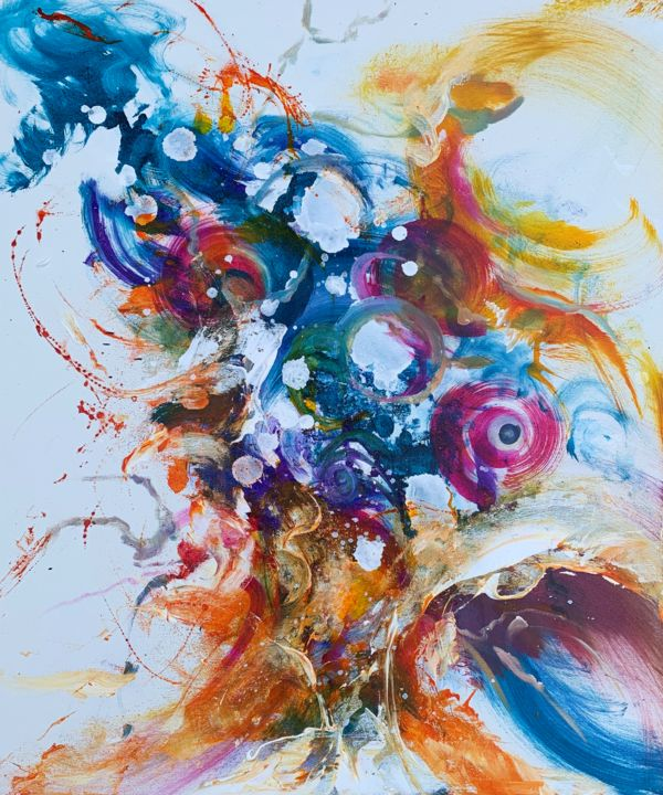 """"""" Aura II """" - Painting,  23.6x19.7x0.8 in, ©2020 by Mo Tuncay (Paschamo) -                                                                                                                                                                          Abstract, abstract-570, Abstract Art"""