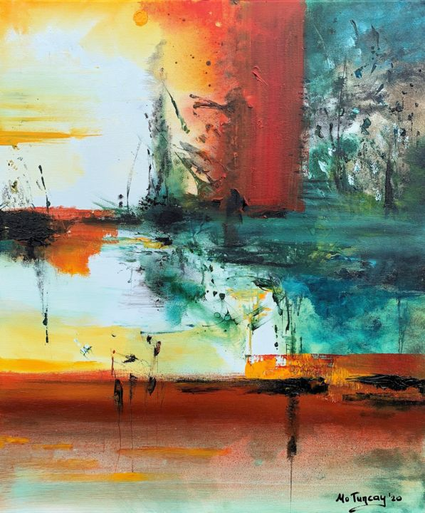 """ Where to go "" - Painting,  23.6x19.7x0.8 in, ©2020 by Mo Tuncay (Paschamo) -                                                                                                                                                                                                                                                                                                                                                                                                                                                                                                                                                                                                                                      Abstract, abstract-570, Landscape, abstract art, paintings, original art, artworks, paschamo, mo tuncay, acrylics, abstrakt kunst, kunstenaar, dutch artist"