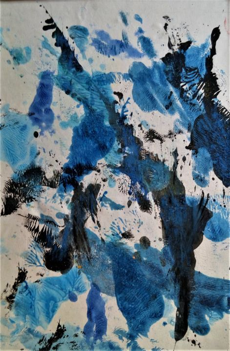 Magie bleue 2 - Painting,  19.7x11.8 in, ©2019 by Jolivet -                                                                                                                          Abstract, abstract-570