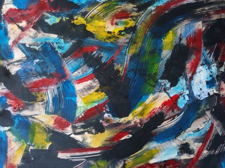 Covid19 les couleurs de l'espoir - Painting,  19.7x27.6 in, ©2020 by Dominique Jolivet -                                                                                                                          Abstract, abstract-570
